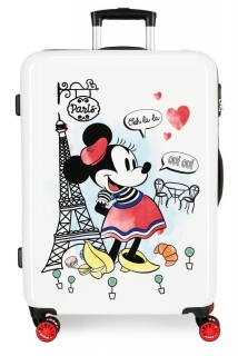 Cestovní kufr ABS Minnie Around the World Paris Red 68 cm